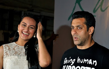 Photo: Indian Bollywood actors Salman Khan (R) and Sonakshi Sinha attend the launch of the Kallista Spa and Salon in Mumbai on April 20, 2012. AFP PHOTO/STR (Photo credit should read STRDEL/AFP/Getty Images)