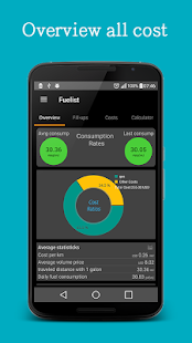 Fuel log & Cost Tracking app - náhled