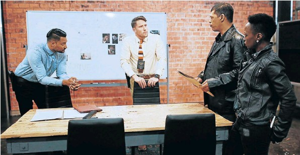 A scene from SABC3's new crime drama series, 'The Docket'. Actors, from left, are Ashish Gangapersad (Detective Terry Jahib), Brendon Engelbrecht (Detective Neil Hall), Duncan Johnson (Colonel Marlon van Wyk) and Hlubi Mboya (Detective Ntsiki Motshe).