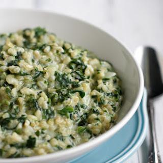 Cheesy Garlic Spinach Rice.