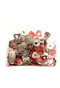 Stor konfetti, hjärtan röd/silver