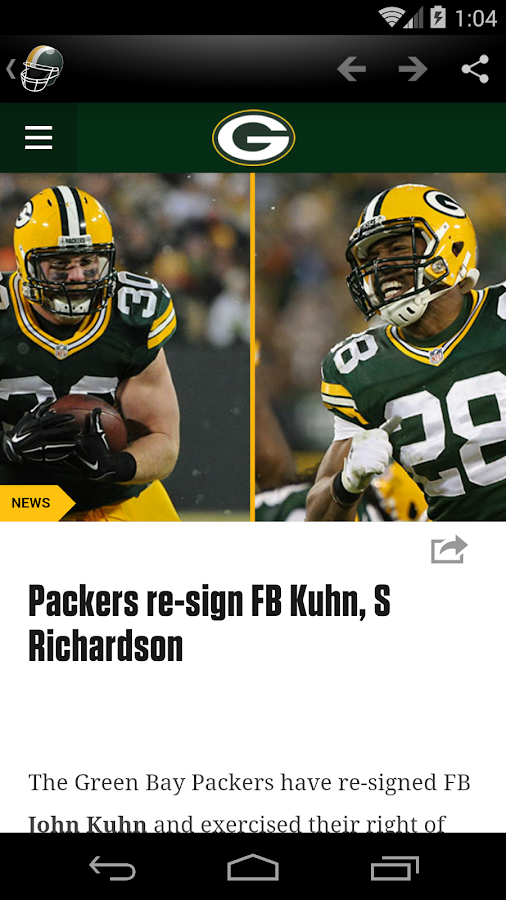 Green Bay Football News- screenshot