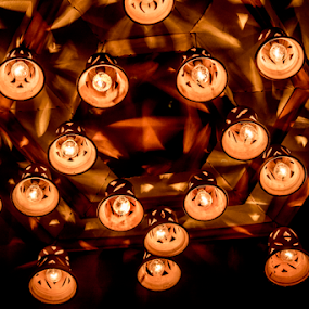 Light and Shadow by Subhajit Basak - Artistic Objects Other Objects ( abstract, chandelier, kolkata, bulbs, bengal, black background, lamps, holiday, lights, pattern, shadow, india, festival, artistic objects, objects, black, culture )