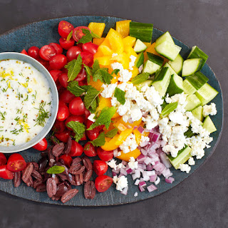 Chopped Greek Salad with Creamy Yogurt Dressing.