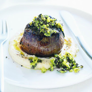 Chargrilled Steak With Green-olive Tapenade And Butter-bean Mash