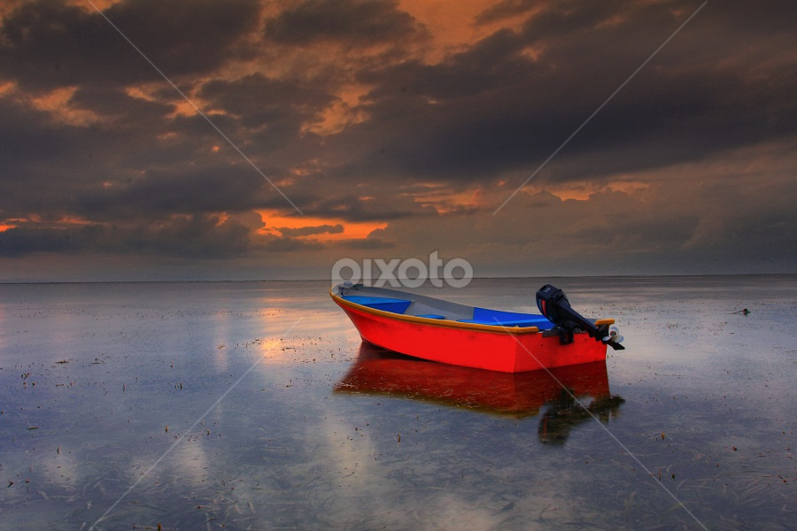 Red Boat by Krishna Mahaputra - Transportation Boats ( bali )