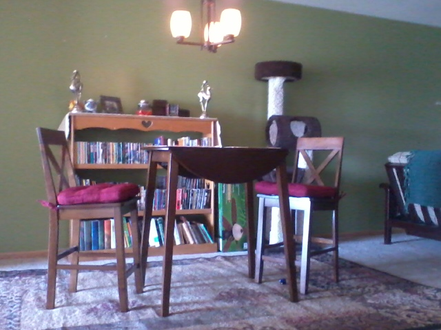 Photo: The dining room, complete with kitty penthouse and bookshelf