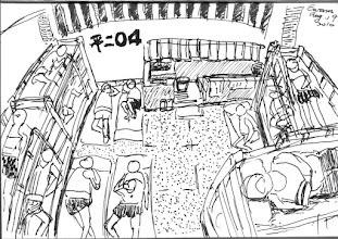 Photo: 13人/4坪2010.08.19鋼筆畫 不到四坪大小,四組上下舖木床,一組蹲式馬桶,沒有冷氣,只有吊扇和抽風機各一組,十三個人共用這樣的空間生活,地上躺直的叫中山北路,躺橫的叫忠孝東路… 有些房甚致睡到十五六人,在酷暑的盛夏,房內溫度可達三十度以上,所以樓上的房叫烤箱,樓下的則叫蒸籠… 台灣每個監獄都超收,而宜監的容額都已超收兩成,但正爆發新流感群聚感染的情形下,每天竟還要繼續收納板橋地檢移來的新人犯,擺明著把人往疫區送… 犯人可不是抓進來關問題就解決了啊…真不知道法務部到底怎麼想…