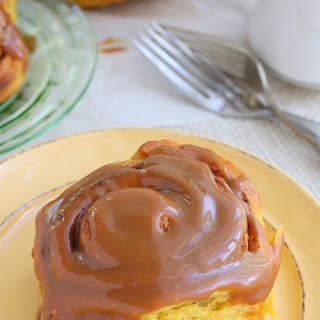Pumpkin Cinnamon Rolls with Caramel Icing