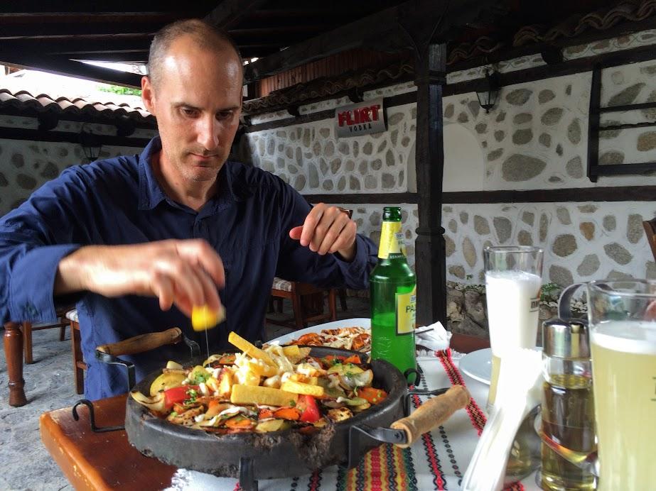 Grilled vegetables on hot plate