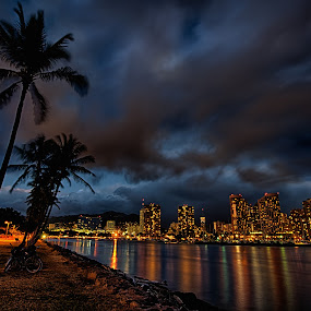 Waikiki at Night by Brent Sharp - City,  Street & Park  Night ( clouds, hdr, night, long exposure, cityscape, hawaii, city, waikiki,  )