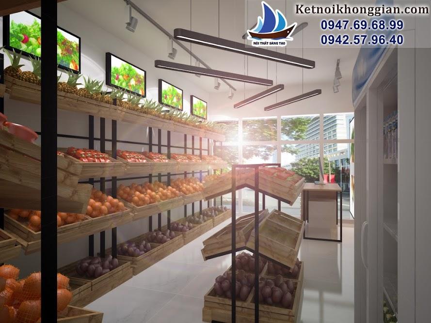 thiết kế cửa hàng rau quả sạch chuyên nghiệp phong cách đơn giản