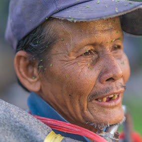Rice farmer closeup. by John Greene - People Portraits of Men ( old man, face, thailand, farmer, portrait )