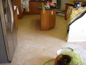 Photo: diamond pattern install 16x16 ceramic tile kitchen. W/ island