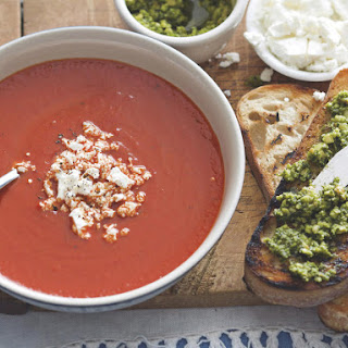 Chilled Roasted Red Pepper Soup with Feta and Pesto Toasts