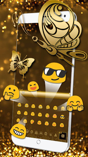 Glitter Diamond Gold Keyboard screenshots 2