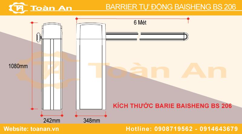 Kích thước chiều dài, chiều rộng, chiều cao của barrier tự động bisen bs 206