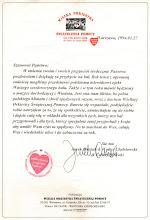 Photo: List J. Owsiaka i W. Chełstowskiego do uczestników Balu, odczytany przez reprezentującą WOŚP, w związku z ich nieobecnością Agatę Młynarską.