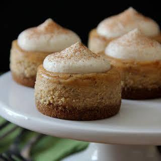 Maple Pumpkin Mini Cheesecakes with Brown Sugar Maple Whipped Cream.