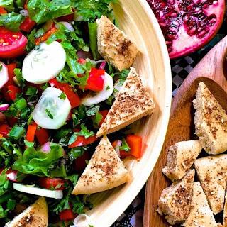 Fattoush With Za'atar, Sumac and Pomegranate Molasses Recipe (Traditional Lebanese Salad).