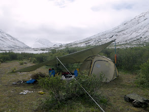 Photo: Camp 7/10-12 – We had a snowstorm & rain for 2 days which we mostly slept in the tent & got rid of the jet-lag. Latitude: 64.500546° N Longitude: 132.100596° W