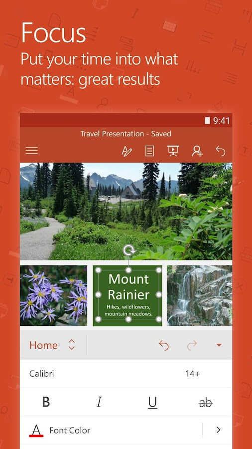 Screenshots of Microsoft PowerPoint for iPhone