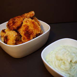 Curry Chicken Fingers with Avocado Ranch Dipping Sauce.