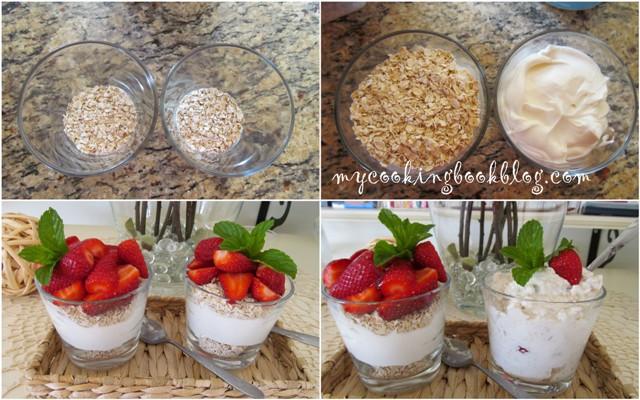 За овесени ядки с кисело мляко и ягоди (или други плодове)