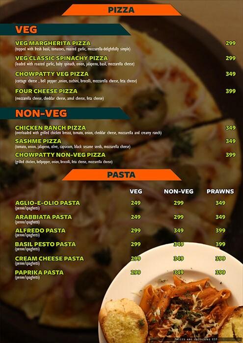 The Fusion Cuzine menu 3