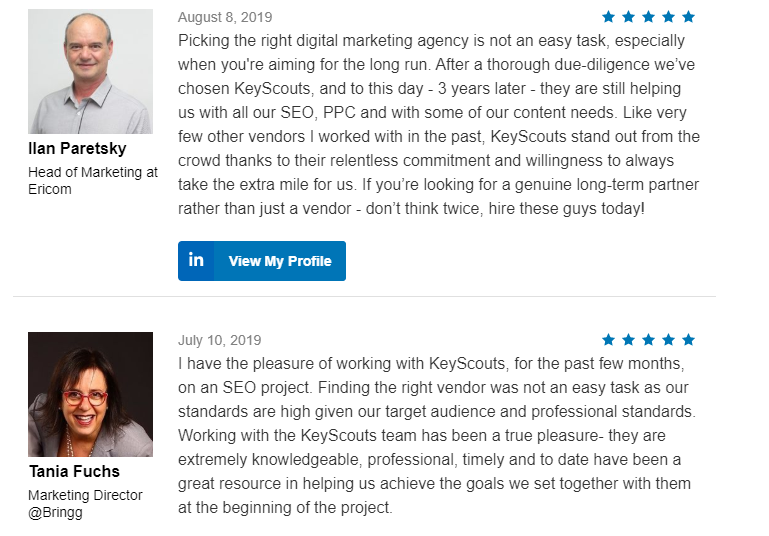 KeyScouts testimonial format increases click-through rate.