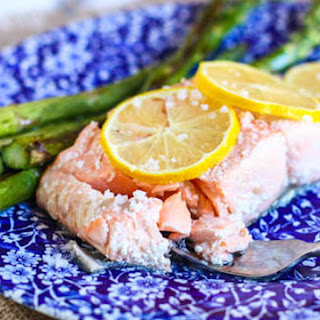 Olive Oil Poached Salmon with Roasted Asparagus.