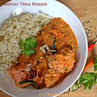 Salmon Tikka Masala - Grilled Salmon in a Tomato Cream Sauce.