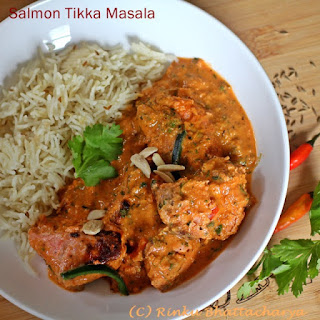 Salmon Tikka Masala - Grilled Salmon in a Tomato Cream Sauce.