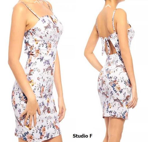 Vestido ajustado de tiras estampado de flores, abertura en el frente por Studio F