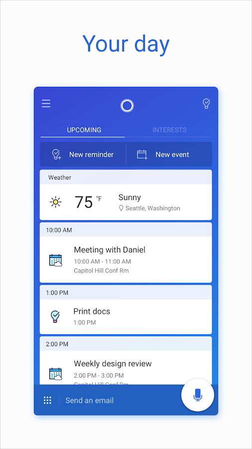 Microsoft Cortana – Digital assistant- screenshot