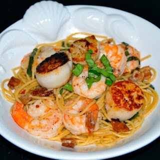 Pasta with Scallops, Shrimp and Basil.