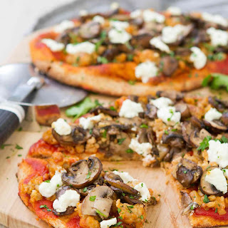 Sausage Mushroom Naan Pizza with Goat Cheese.