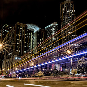 Night Bus by RomanDA Photography - City,  Street & Park  Street Scenes ( night, long exposure, chicago, night lighting street, , city, Urban, City, Lifestyle )