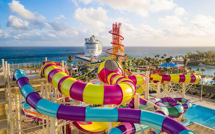 The waterslide at Perfect Day CocoCay.