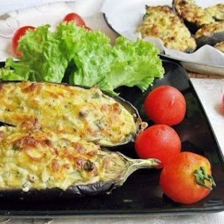 Eggplant «Kucherikas» with cheese and curd