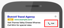 Call extensions show a phone number or clickable call button with your ad.