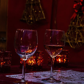 two glasses by Alen Zita - Food & Drink Alcohol & Drinks ( glasses, night, winter, vine, hungary )
