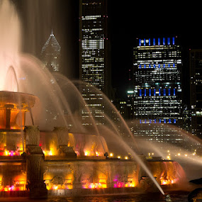 Buckingham Fountain by Bim Bom - City,  Street & Park  Fountains ( chicago fountain water colors night skyscrapers dark long exposure, city at night, street at night, park at night, nightlife, night life, nighttime in the city )