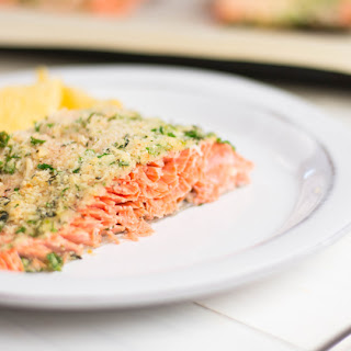 Oven Baked Parmesan Herb Crusted Salmon.