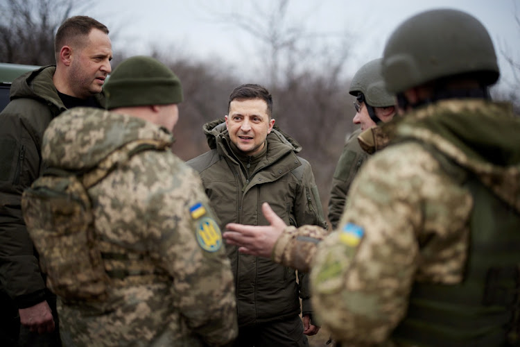 Ukrainian President Volodymyr Zelenskiy talks to servicemen in the Donetsk region in Ukraine, February 11 2021. Picture: UKRAINIAN PRESIDENTIAL PRESS SER/REUTERS
