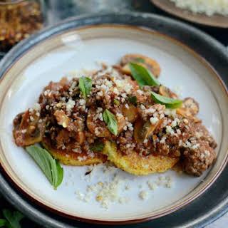 Beef + Mushroom Ragu over Fried Polenta.