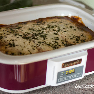 Crock Pot Ground Beef Eggplant Casserole.