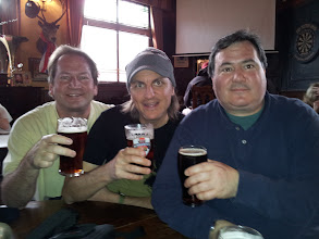 Photo: L-R: Coby, Spike and Fred grab a warm-up pint before our visit to Meantime Brewery in Greenwich, London.