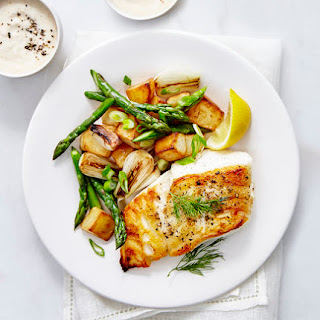 Cod With Asparagus Hash and Horseradish Sauce.