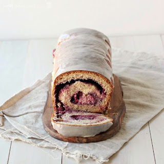 Whole Wheat Blackberry Cream Cheese Swirl Bread with Vanilla Bean Glaze